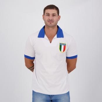 Camisa Itália Retrô Branca Gola Azul