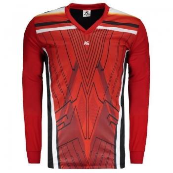 Camisa Kanxa Pop Glam Goleiro Manga Longa Preta e Vermelha