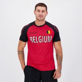 Camisa Kappa Bélgica Sport Vermelha e Preta