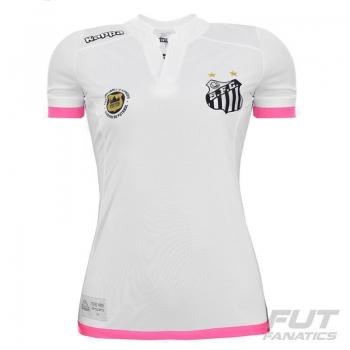 Camisa Kappa Santos I 2016 Feminina Branca e Rosa