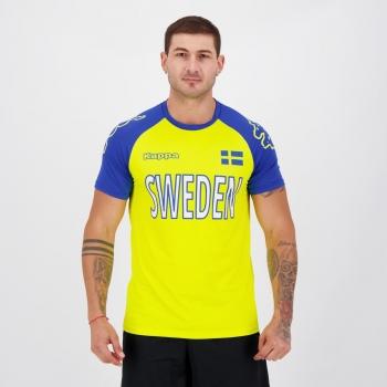 Camisa Kappa Suécia Sport Amarela e Azul