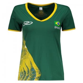 Camisa Olympikus Brasil Vôlei CBV 2016 Feminina Verde