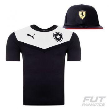 Camisa Puma Botafogo Viagem 2015 Preta + Boné Preto
