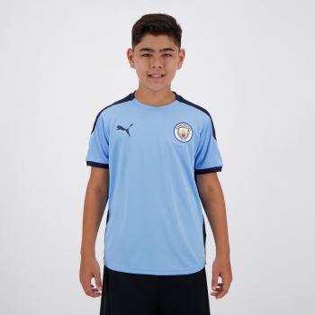 Camisa Puma Manchester City Treino 2021 Juvenil Azul