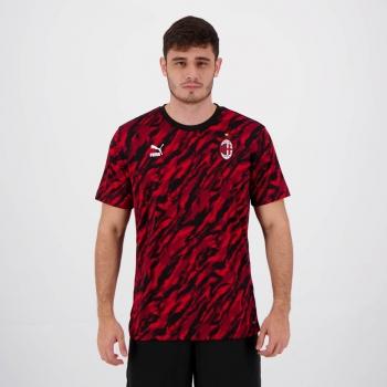 Camisa Puma Milan Iconic MCS Graphic Preta e Vermelha