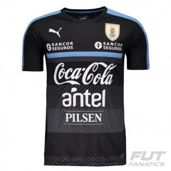 Camisa Puma Uruguai Treino 2016 Preta com Patrocínio