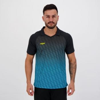 Camisa Topper Fut Bold Preta e Azul