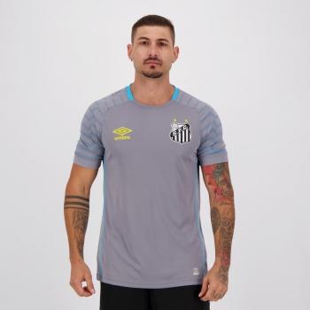 Camisa Umbro Santos Goleiro 2021 Cinza e Azul