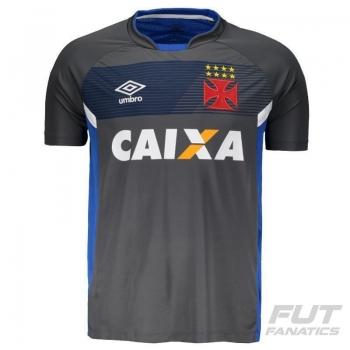 Camisa Umbro Vasco Treino 2017 Cinza e Azul