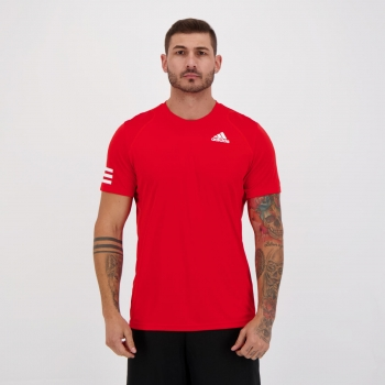 Camiseta Adidas Club 3 Stripes Vermelha