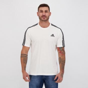 Camiseta Adidas Essentials 3 Stripes Branca