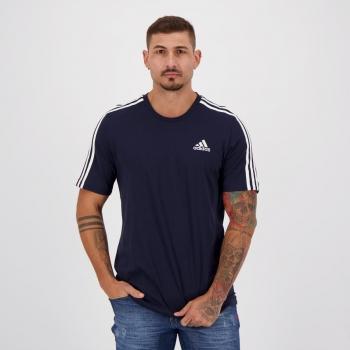 Camiseta Adidas Essentials 3 Stripes Marinho e Branca