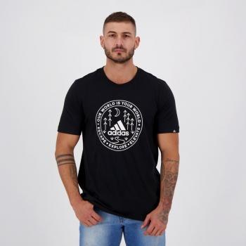 Camiseta Adidas Grafica Explorer Preta