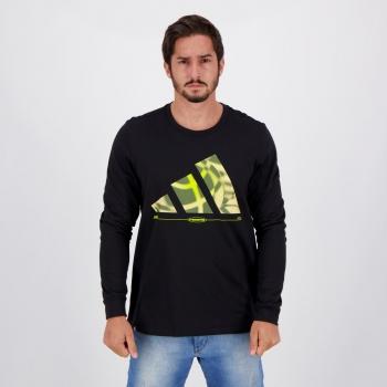 Camiseta Adidas Hoops II Manga Longa Preta