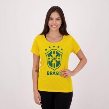 Camiseta Brasil CBF Logo Feminina