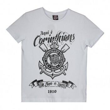 Camiseta Corinthians Aqui É Corinthians Juvenil Branca