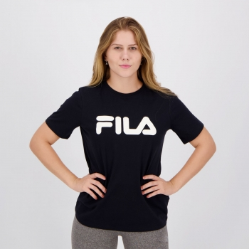 Camiseta Fila Basic Letter Feminina Preta e Branca