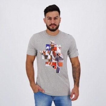 Camiseta Fila Collage Cinza