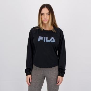 Camiseta Fila Elastic Manga Longa Feminina Preta