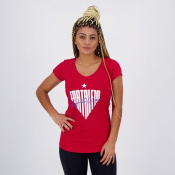 Camiseta Fortaleza Escudo Feminina Vermelha