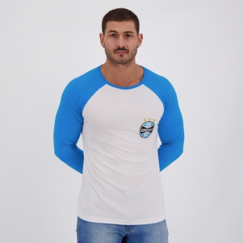 Camiseta Grêmio Debrum Manga Longa Branca e Azul