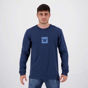 Camiseta Hang Loose Silk Aloha Manga Longa Azul Mescla