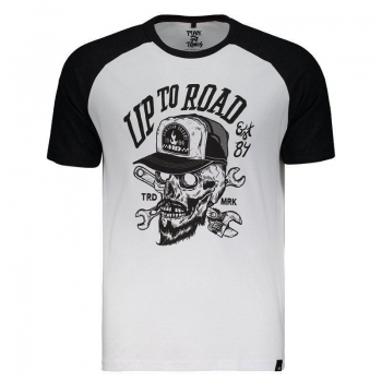 Camiseta Hd Motorcycle Branca e Preta