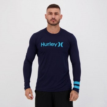 Camiseta Hurley Block Party Manga Longa Marinho