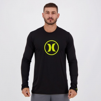 Camiseta Hurley Lycra Manga Longa Preta