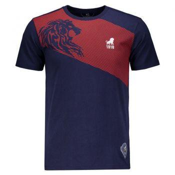 Camiseta Leão 1918 Fortaleza Casual Marinho e Vermelha