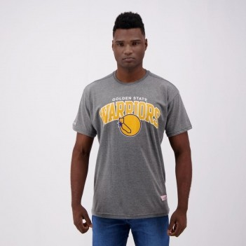 Camiseta Mitchell & Ness NBA Golden State Warriors Escudo Cinza Mescla