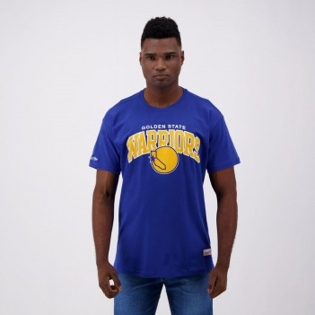 Camiseta Mitchell & Ness NBA Golden State Warriors Logo Azul e Amarela