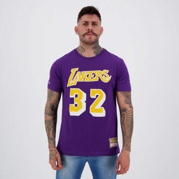 Camiseta Mitchell & Ness NBA Los Angeles Lakers Johnson Roxa