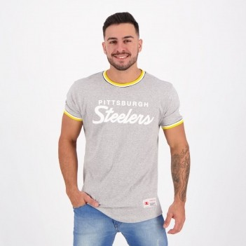 Camiseta Mitchell & Ness NFL Pittsburgh Steelers Cinza Mescla