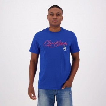 Camiseta New Era MLB Los Angeles Dodgers Royal e Vermelha