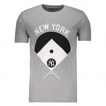 Camiseta New Era MLB New York Yankees Escudo Cinza