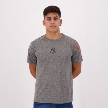 Camiseta New Era MLB New York Yankees Logo Cinza Mescla