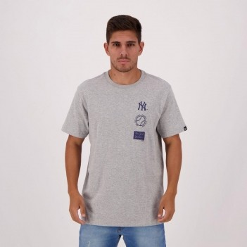 Camiseta New Era MLB Yankees Cinza Mescla