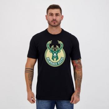 Camiseta New Era NBA Milwaukee Bucks Preta