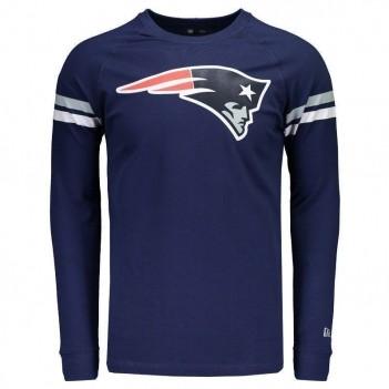 Camiseta New Era NFL New England Patriots Manga Longa Escudo Marinho