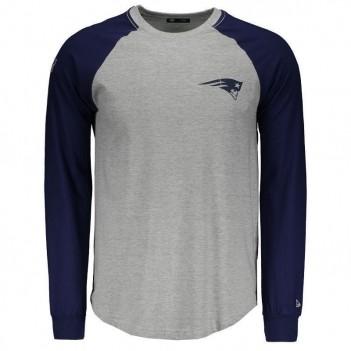 Camiseta New Era NFL New England Patriots Manga Longa Cinza