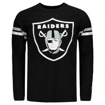 Camiseta New Era NFL Oakland Raiders Manga Longa Preta