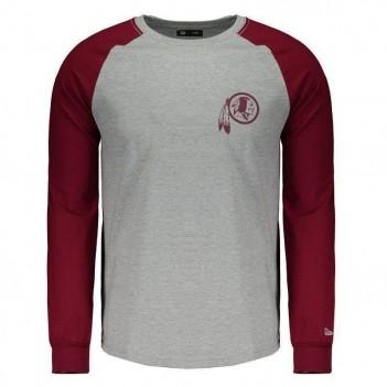 Camiseta New Era NFL Washington Redskins Manga Longa Logo Cinza