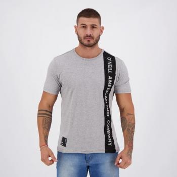 Camiseta O'Neill Estampada Cinza Mescla e Preta