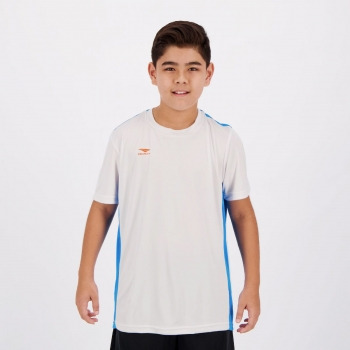 Camiseta Penalty Storm VII UV Juvenil Branca e Azul