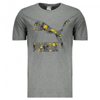 Camiseta Puma Classics Logo Cinza Mescla