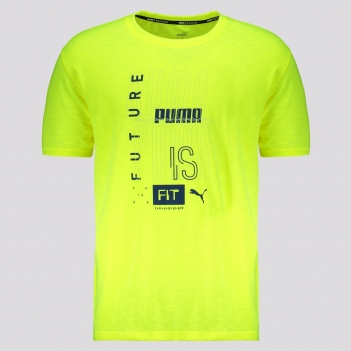 Camiseta Puma Performance Graphic SS Amarela Fluorescente