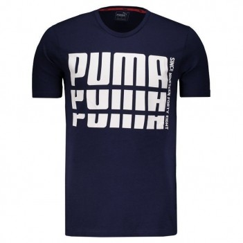 Camiseta Puma Rebel Bold Basic Marinho