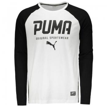 Camiseta Puma Style Tec Baseball Manga Longa Branca e Preta
