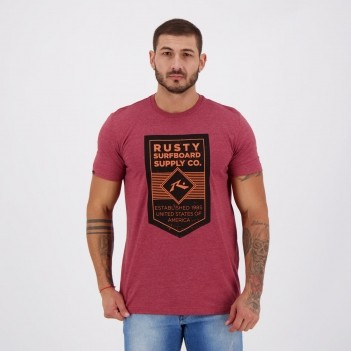 Camiseta Rusty Silk Label Bordô Mescla
